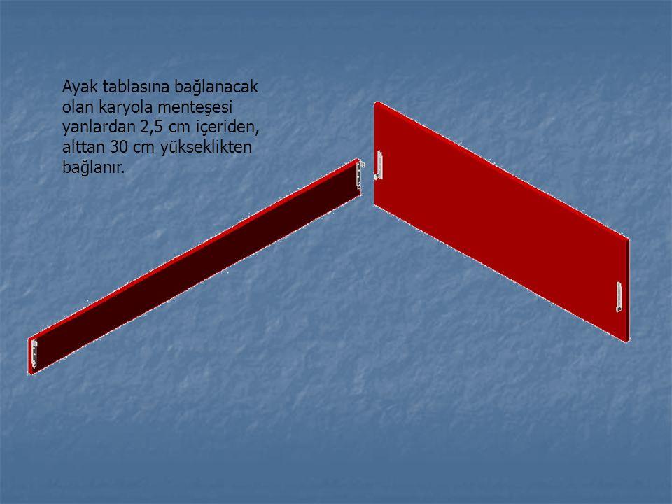 Ayak tablasına bağlanacak olan karyola menteşesi yanlardan 2,5 cm içeriden, alttan 30 cm yükseklikten bağlanır.