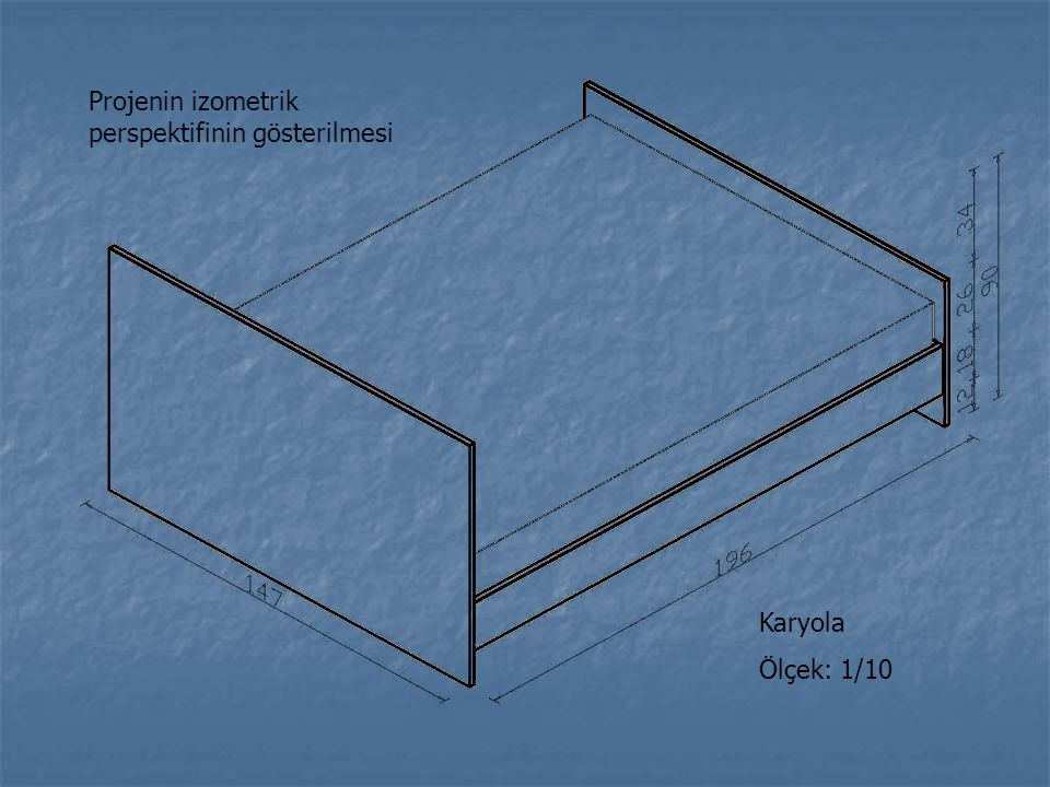 Projenin izometrik perspektifinin gösterilmesi