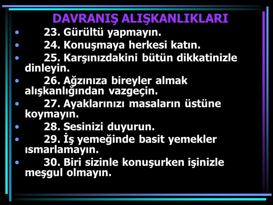 DAVRANIŞ ALIŞKANLIKLARI