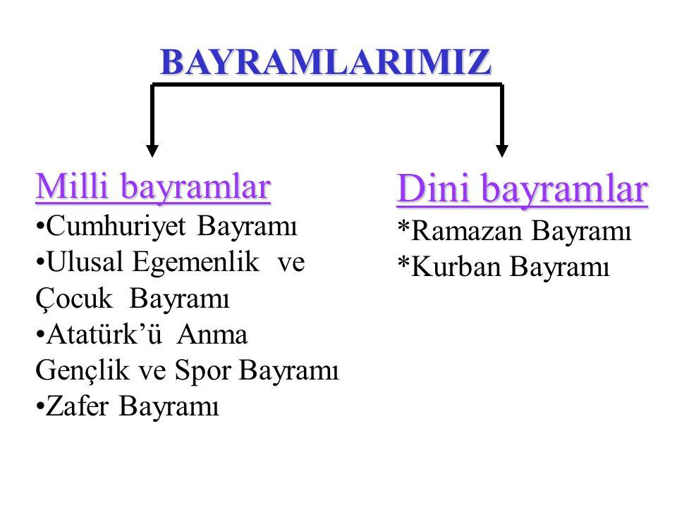 Dini bayramlar BAYRAMLARIMIZ Milli bayramlar Cumhuriyet Bayramı