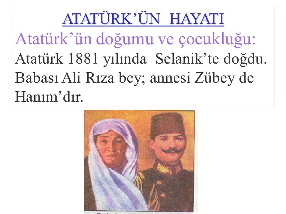Atatürk'ün doğumu ve çocukluğu: