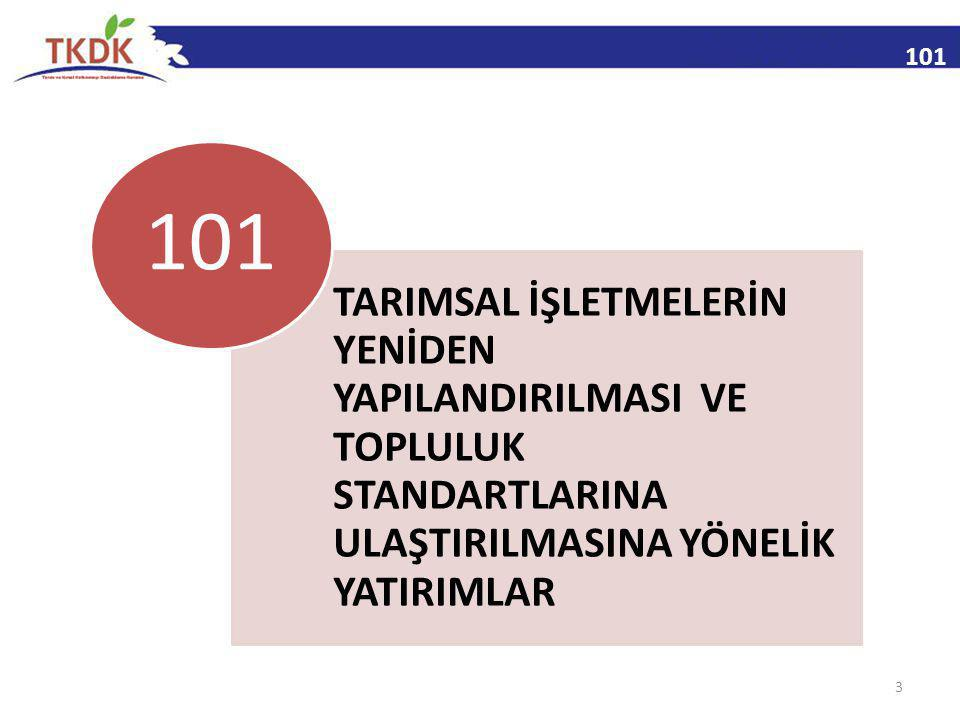 101 TARIMSAL İŞLETMELERİN YENİDEN YAPILANDIRILMASI VE TOPLULUK STANDARTLARINA ULAŞTIRILMASINA YÖNELİK YATIRIMLAR.