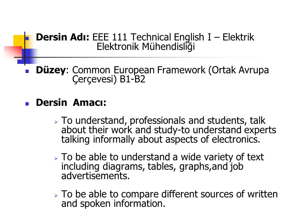 Dersin Adı: EEE 111 Technical English I – Elektrik