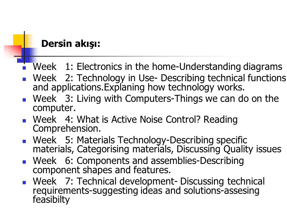 Dersin akışı: Week 1: Electronics in the home-Understanding diagrams.