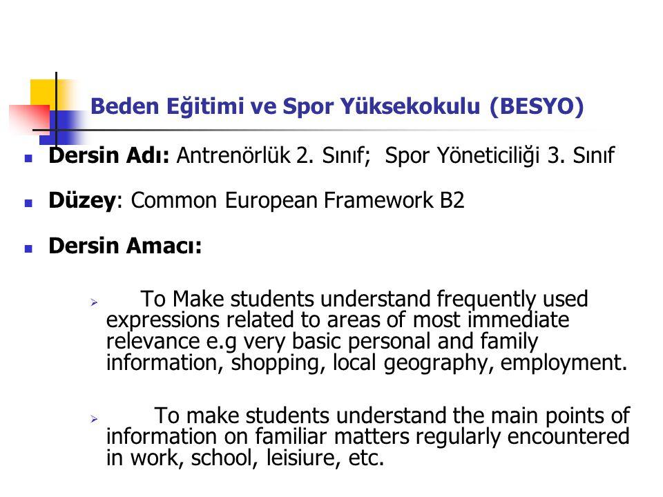 Beden Eğitimi ve Spor Yüksekokulu (BESYO)