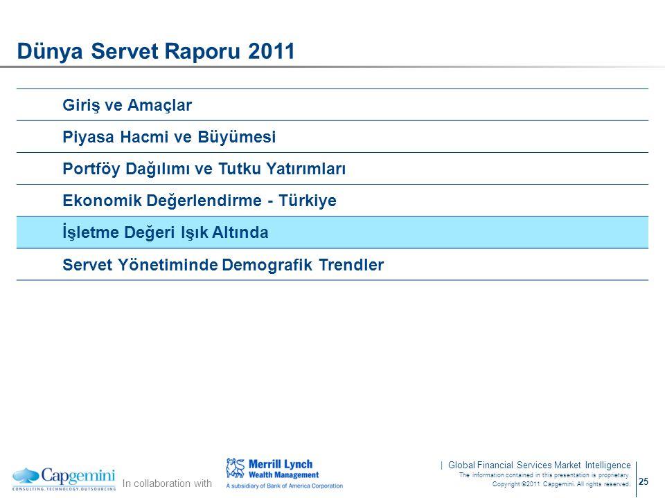 Dünya Servet Raporu 2011 Giriş ve Amaçlar Piyasa Hacmi ve Büyümesi