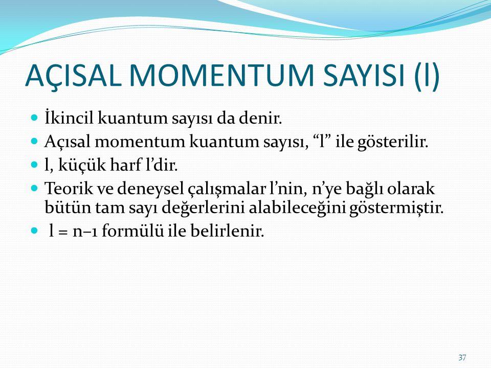 AÇISAL MOMENTUM SAYISI (l)