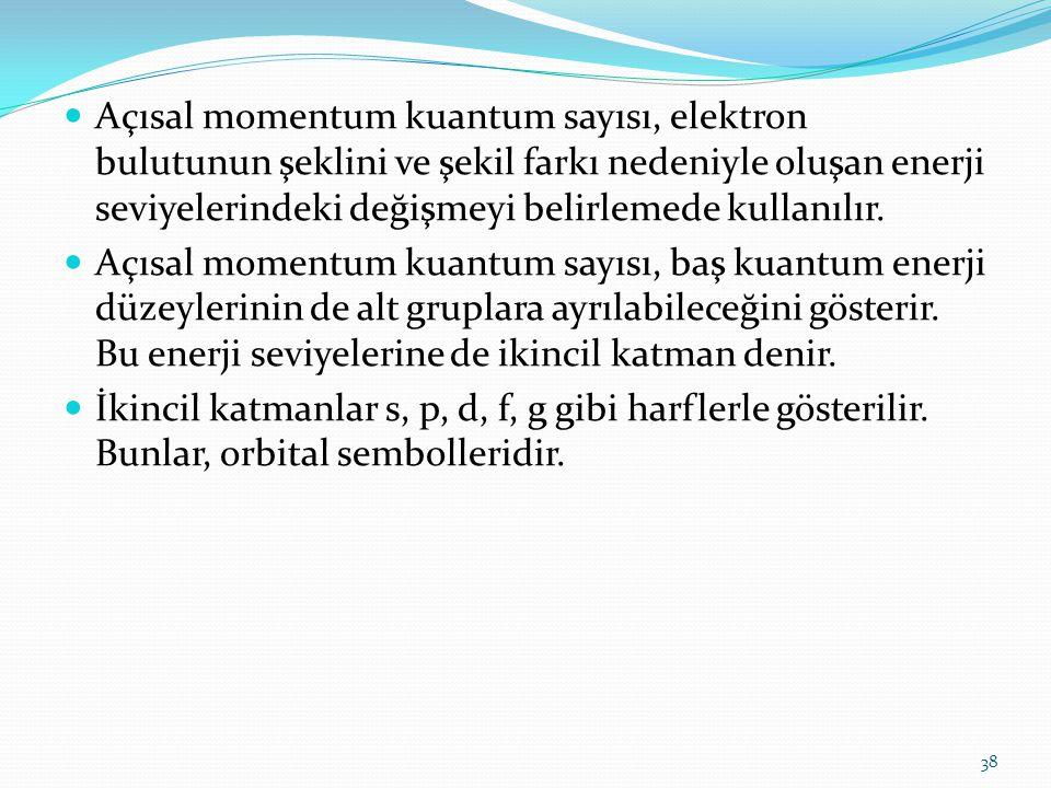 Açısal momentum kuantum sayısı, elektron bulutunun şeklini ve şekil farkı nedeniyle oluşan enerji seviyelerindeki değişmeyi belirlemede kullanılır.