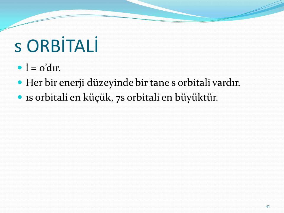 s ORBİTALİ l = 0'dır. Her bir enerji düzeyinde bir tane s orbitali vardır.