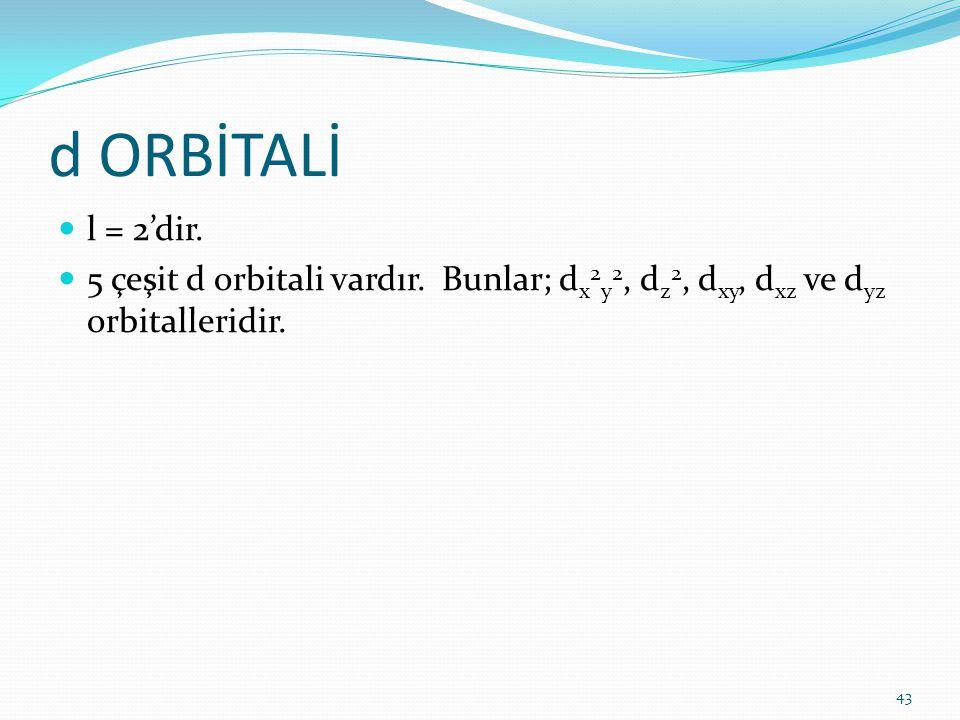 d ORBİTALİ l = 2'dir. 5 çeşit d orbitali vardır.