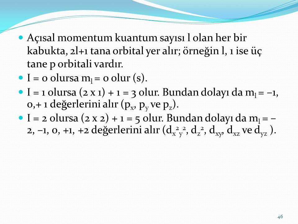 Açısal momentum kuantum sayısı l olan her bir kabukta, 2l+1 tana orbital yer alır; örneğin l, 1 ise üç tane p orbitali vardır.
