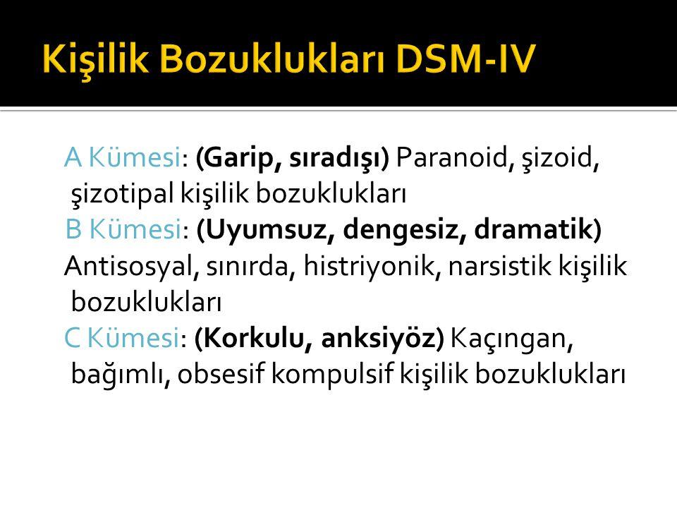 Kişilik Bozuklukları DSM-IV