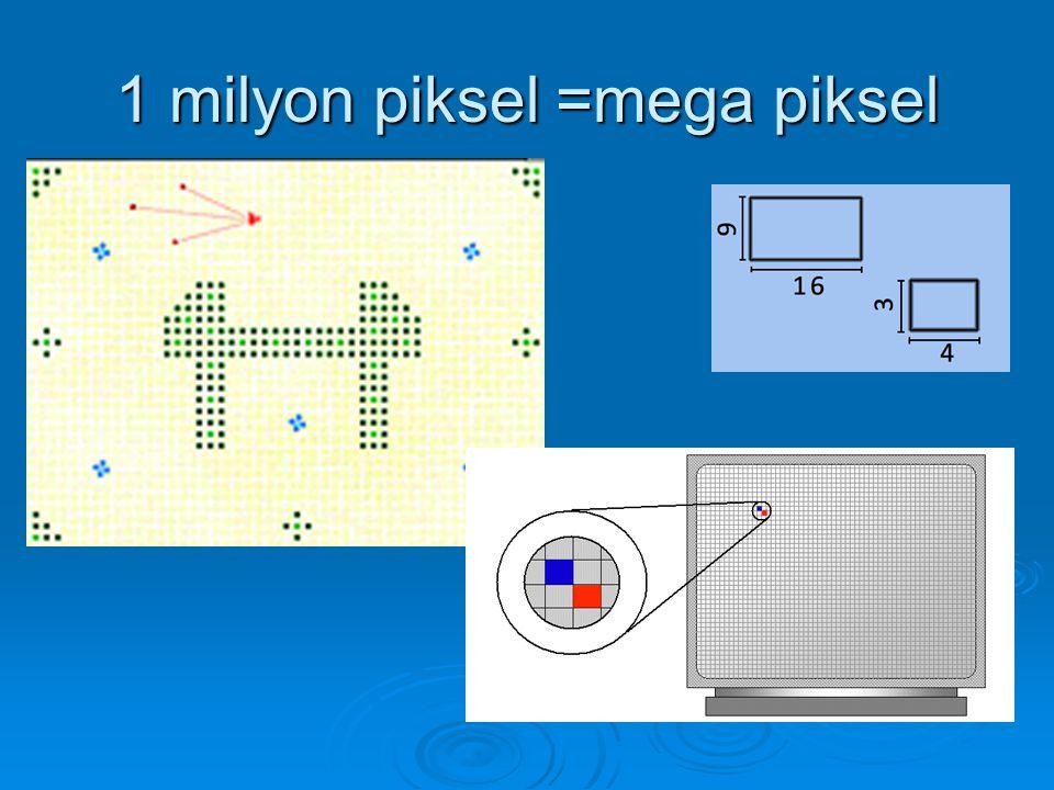 1 milyon piksel =mega piksel