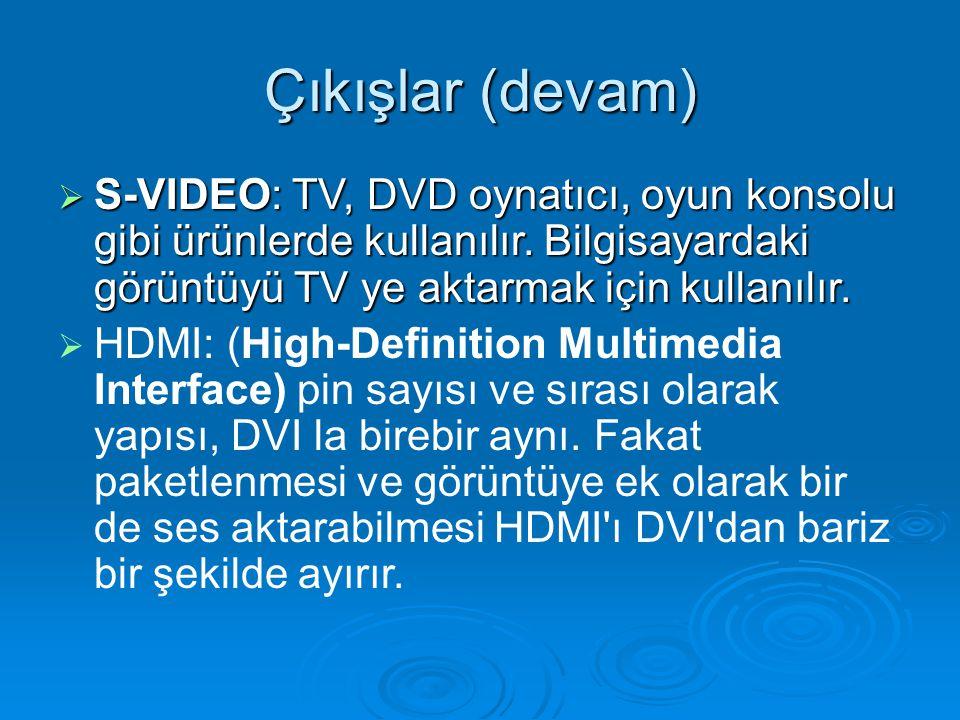 Çıkışlar (devam) S-VIDEO: TV, DVD oynatıcı, oyun konsolu gibi ürünlerde kullanılır. Bilgisayardaki görüntüyü TV ye aktarmak için kullanılır.