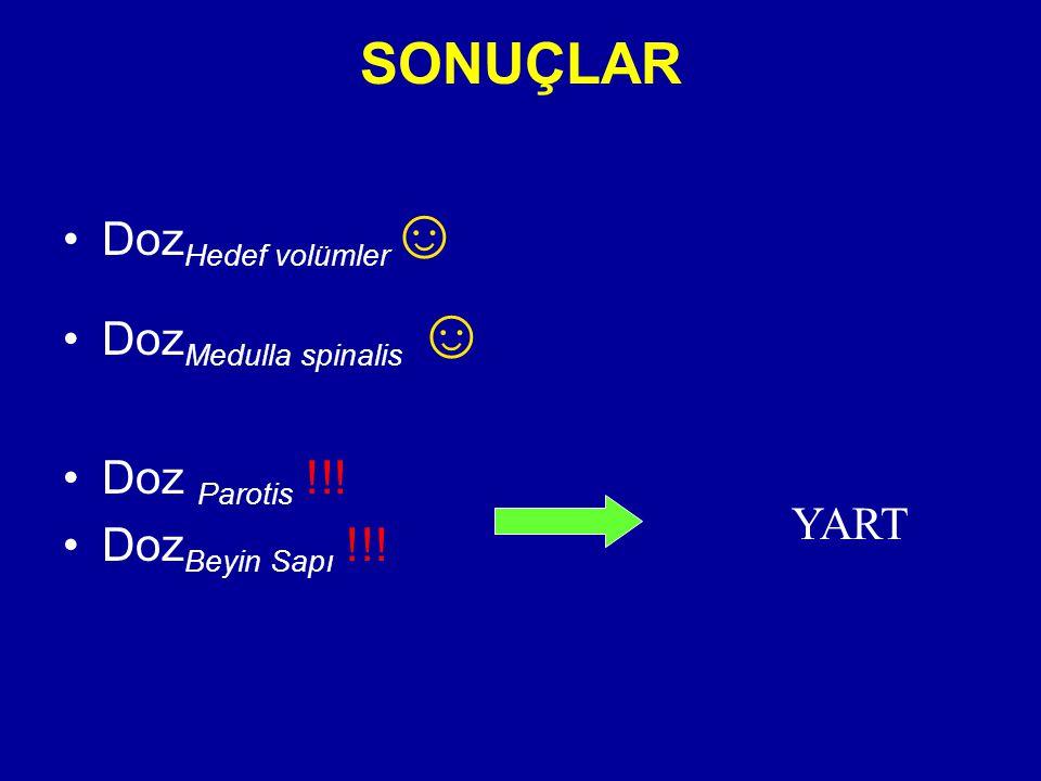 SONUÇLAR DozHedef volümler☺ DozMedulla spinalis ☺ Doz Parotis !!!