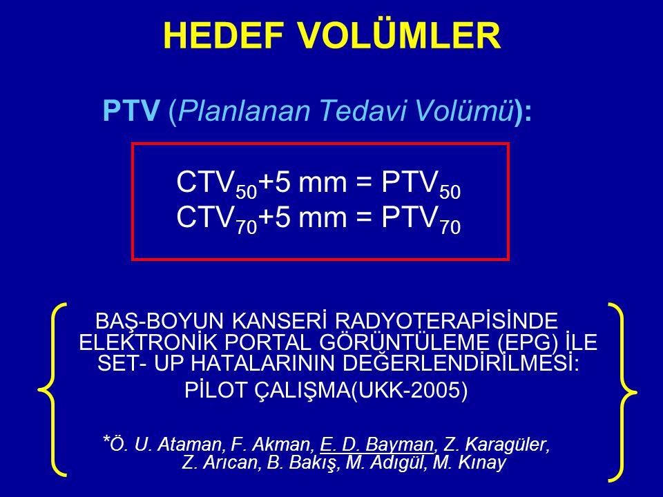 HEDEF VOLÜMLER PTV (Planlanan Tedavi Volümü): CTV50+5 mm = PTV50