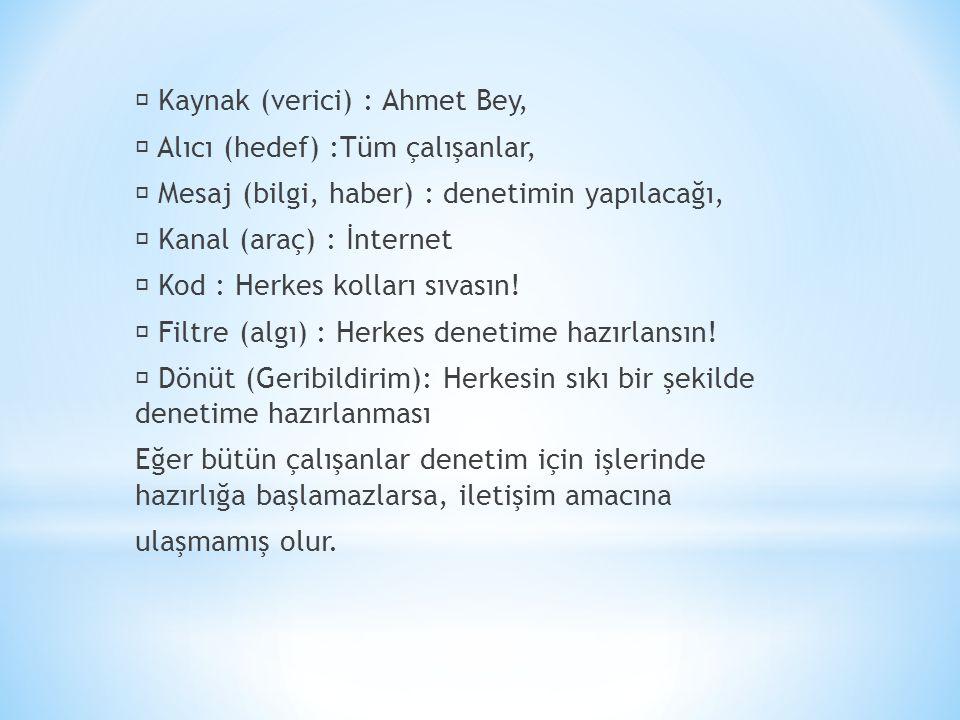  Kaynak (verici) : Ahmet Bey,  Alıcı (hedef) :Tüm çalışanlar,  Mesaj (bilgi, haber) : denetimin yapılacağı,  Kanal (araç) : İnternet  Kod : Herkes kolları sıvasın.