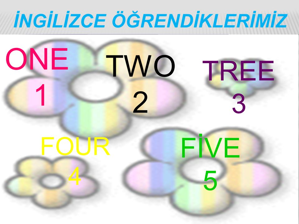 ONE 1 TWO 2 TREE 3 FOUR 4 FİVE 5