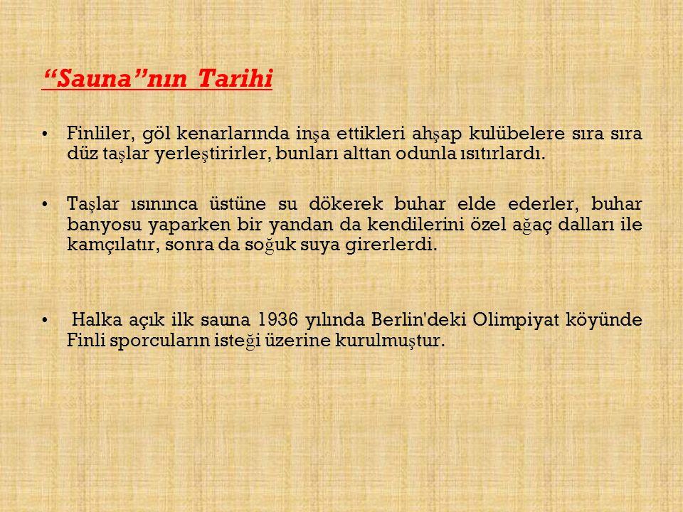 Sauna nın Tarihi Finliler, göl kenarlarında inşa ettikleri ahşap kulübelere sıra sıra düz taşlar yerleştirirler, bunları alttan odunla ısıtırlardı.
