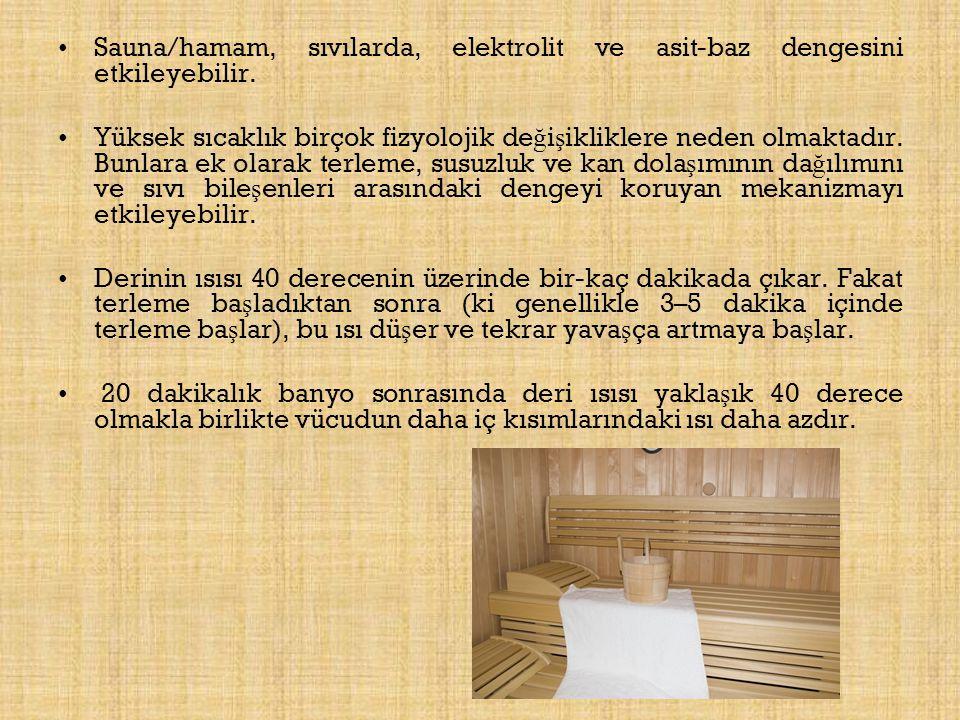 Sauna/hamam, sıvılarda, elektrolit ve asit-baz dengesini etkileyebilir.