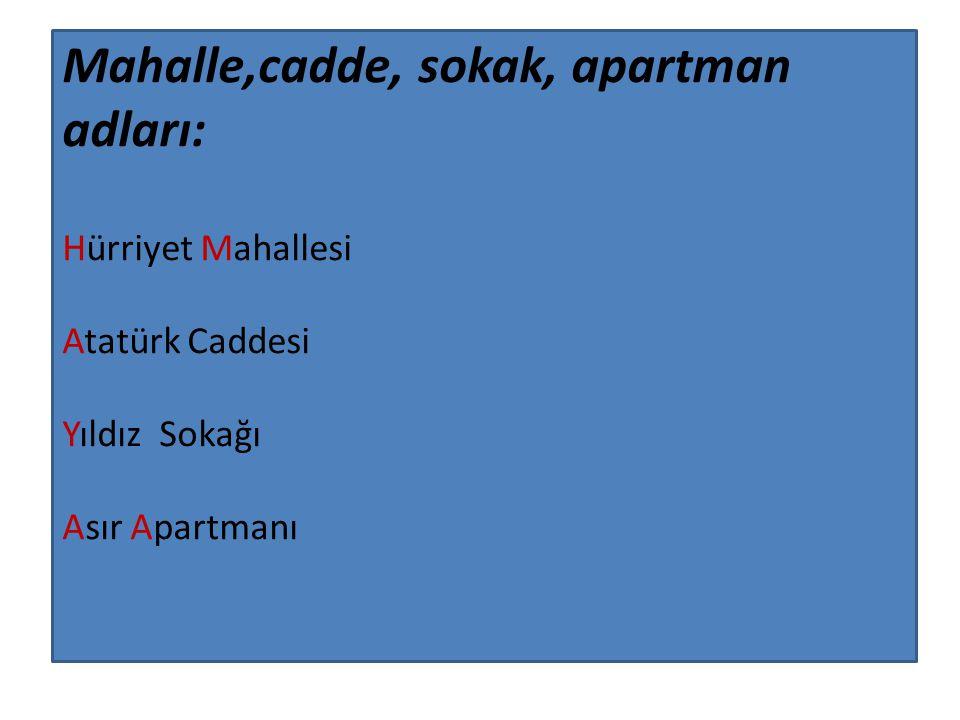 Mahalle,cadde, sokak, apartman adları: Hürriyet Mahallesi Atatürk Caddesi Yıldız Sokağı Asır Apartmanı