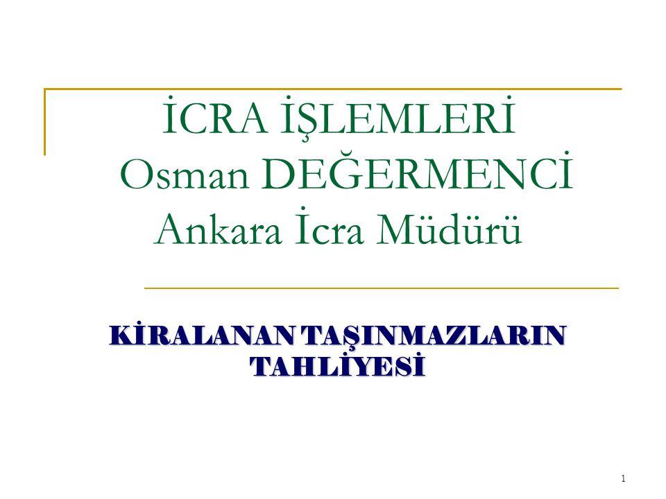 İCRA İŞLEMLERİ Osman DEĞERMENCİ Ankara İcra Müdürü