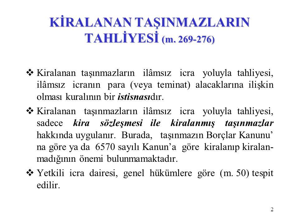 KİRALANAN TAŞINMAZLARIN TAHLİYESİ (m. 269-276)