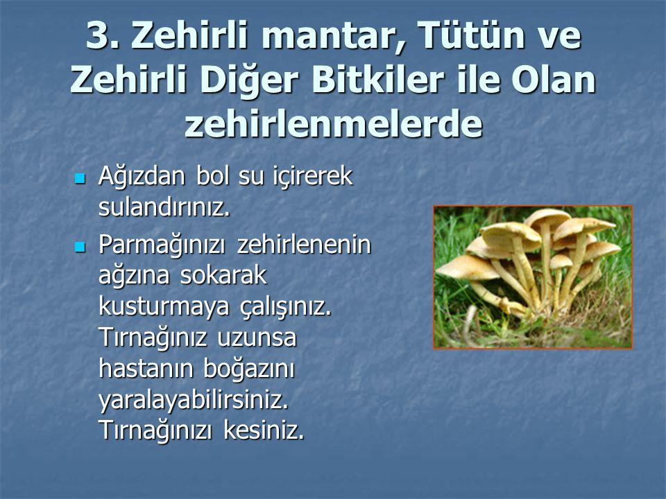3. Zehirli mantar, Tütün ve Zehirli Diğer Bitkiler ile Olan zehirlenmelerde