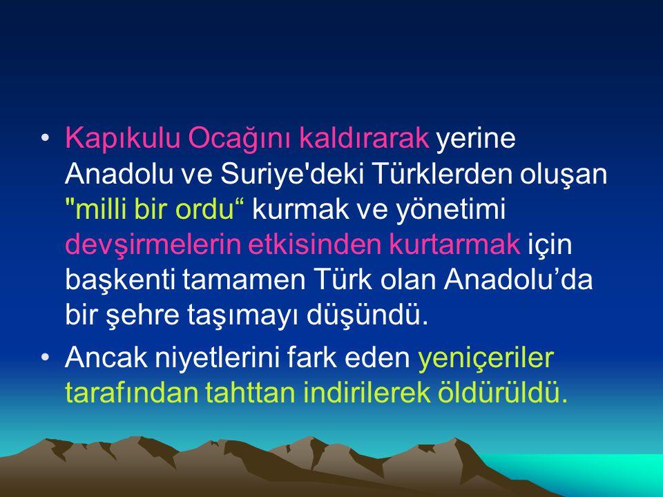 Kapıkulu Ocağını kaldırarak yerine Anadolu ve Suriye deki Türklerden oluşan milli bir ordu kurmak ve yönetimi devşirmelerin etkisinden kurtarmak için başkenti tamamen Türk olan Anadolu'da bir şehre taşımayı düşündü.