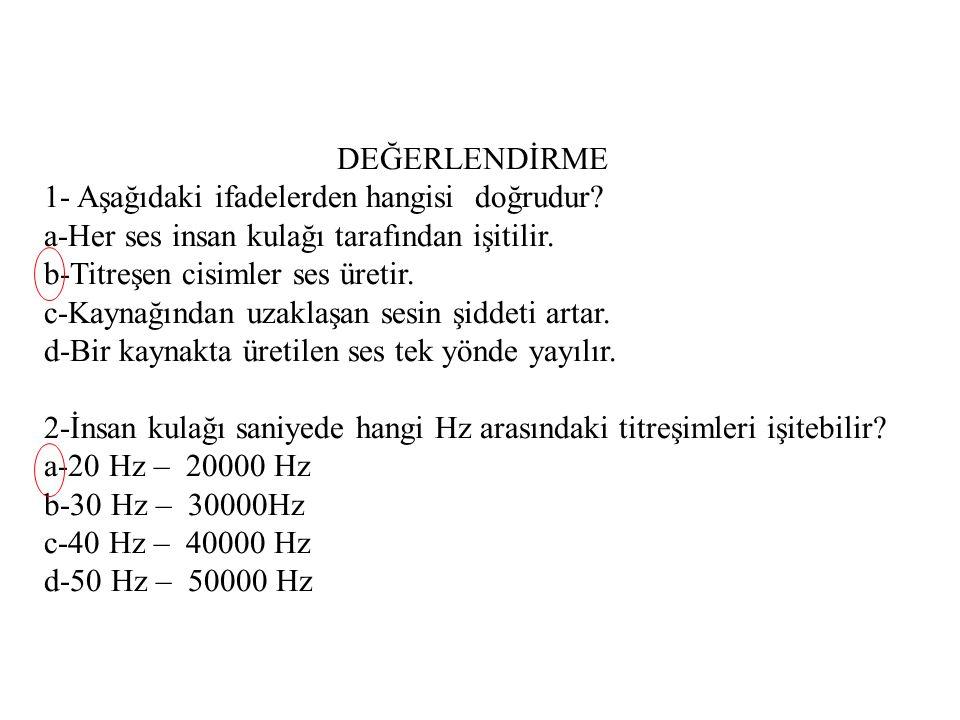 DEĞERLENDİRME 1- Aşağıdaki ifadelerden hangisi doğrudur a-Her ses insan kulağı tarafından işitilir.