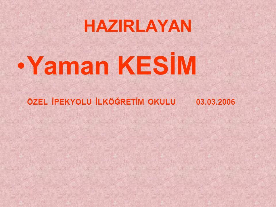 Yaman KESİM ÖZEL İPEKYOLU İLKÖĞRETİM OKULU 03.03.2006