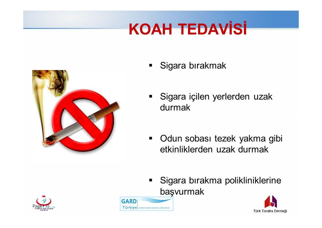 KOAH TEDAVİSİ Sigara bırakmak Sigara içilen yerlerden uzak durmak