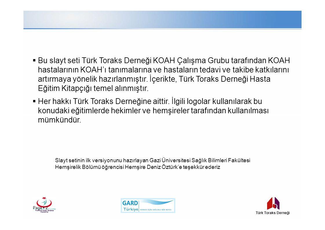 Bu slayt seti Türk Toraks Derneği KOAH Çalışma Grubu tarafından KOAH hastalarının KOAH'ı tanımalarına ve hastaların tedavi ve takibe katkılarını artırmaya yönelik hazırlanmıştır. İçerikte, Türk Toraks Derneği Hasta Eğitim Kitapçığı temel alınmıştır.