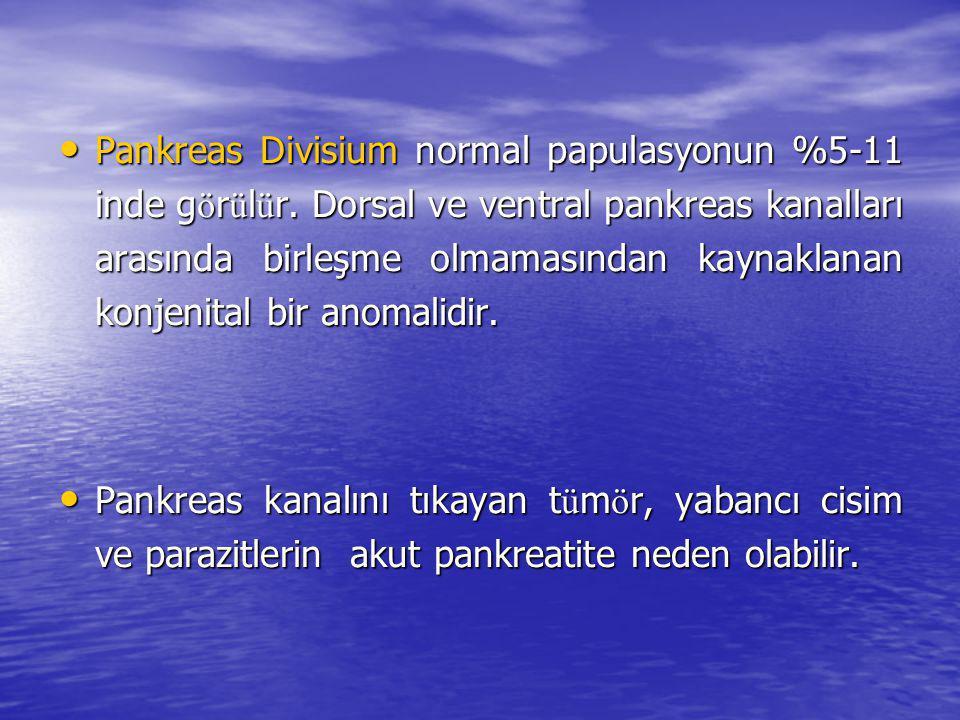 Pankreas Divisium normal papulasyonun %5-11 inde görülür