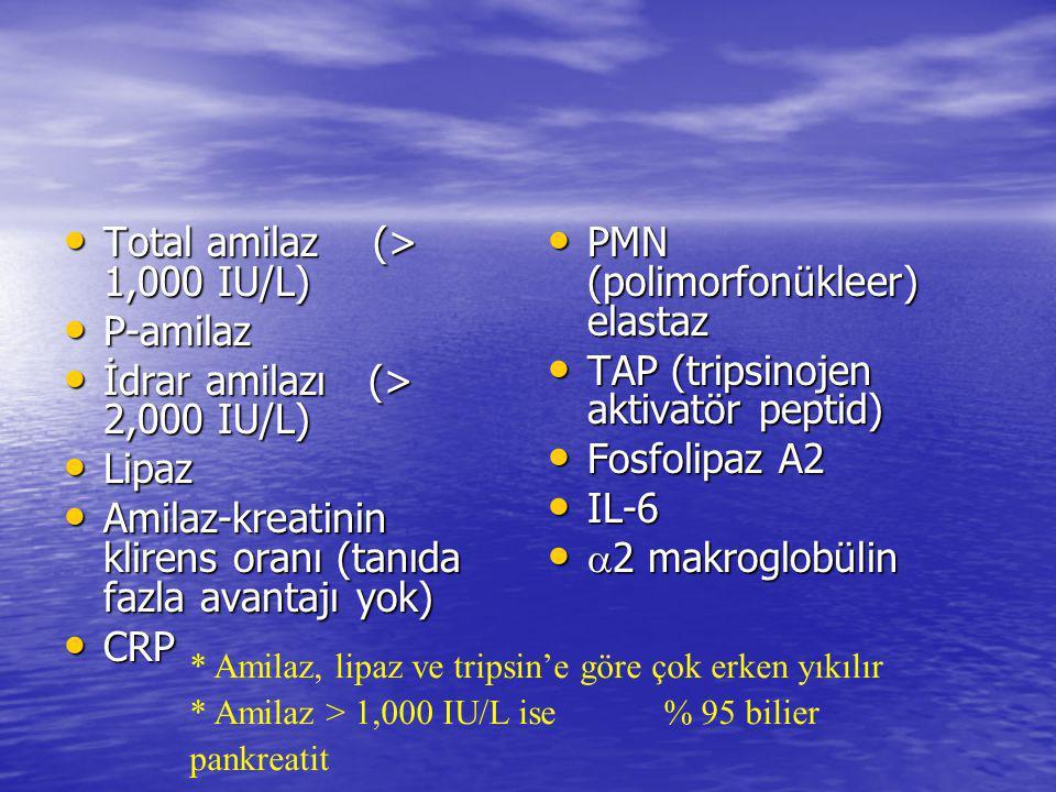 Total amilaz (> 1,000 IU/L) P-amilaz