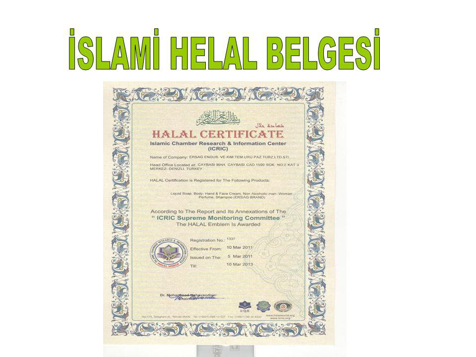 İSLAMİ HELAL BELGESİ