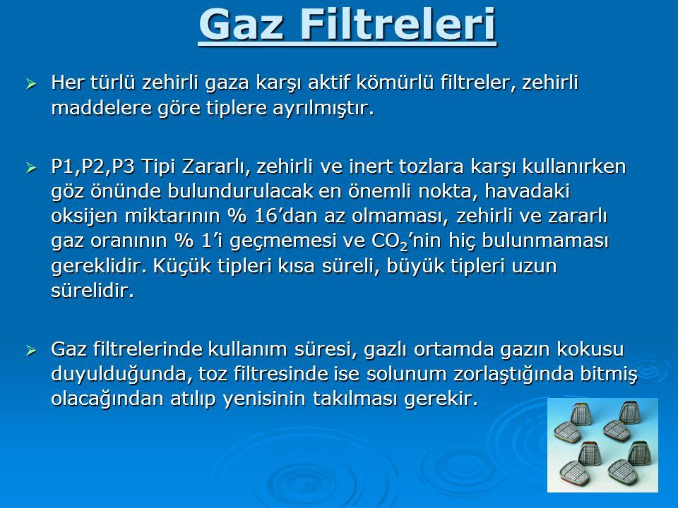 Gaz Filtreleri Her türlü zehirli gaza karşı aktif kömürlü filtreler, zehirli maddelere göre tiplere ayrılmıştır.