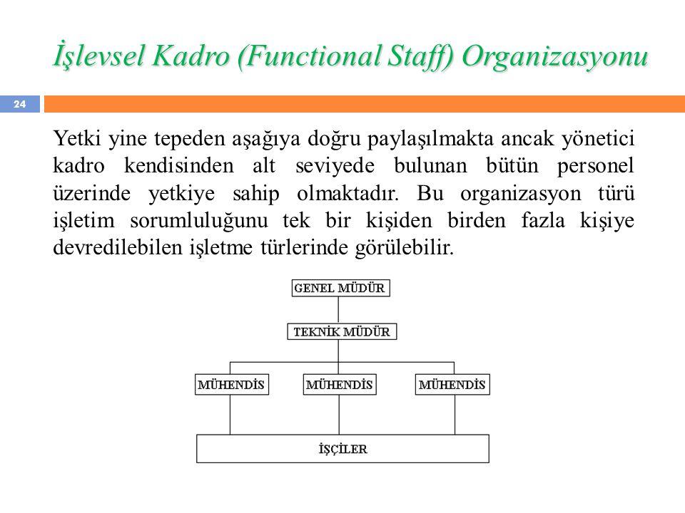 İşlevsel Kadro (Functional Staff) Organizasyonu