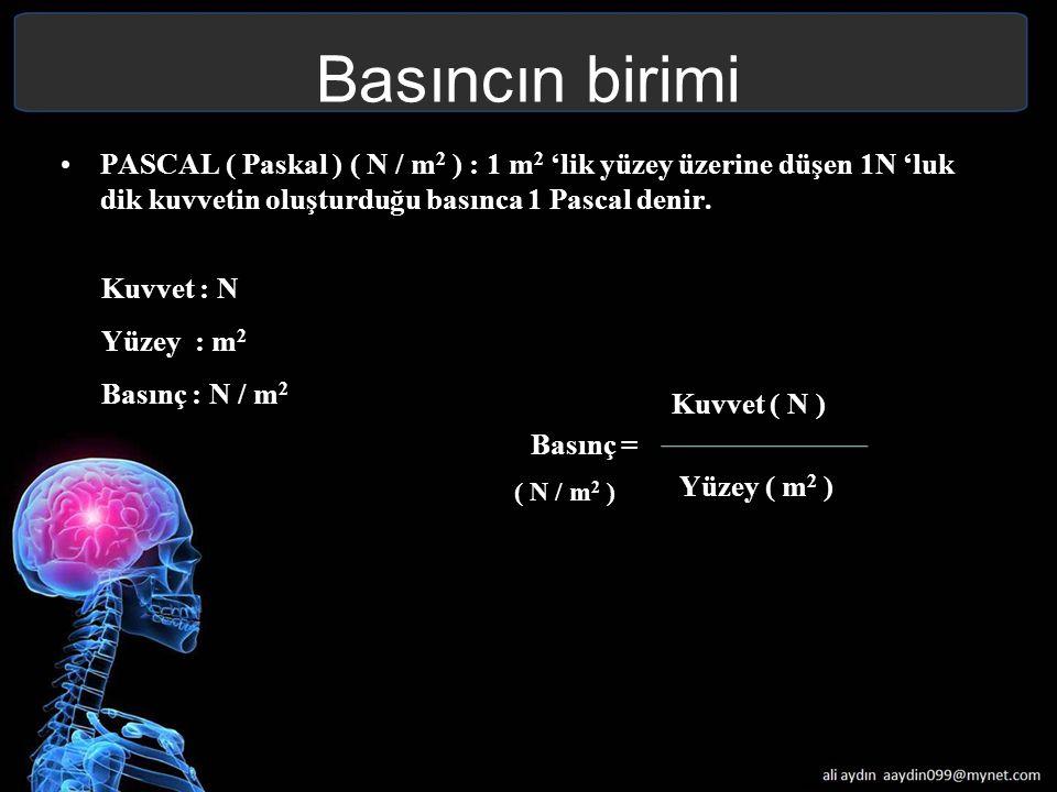 Basıncın birimi PASCAL ( Paskal ) ( N / m2 ) : 1 m2 'lik yüzey üzerine düşen 1N 'luk dik kuvvetin oluşturduğu basınca 1 Pascal denir.