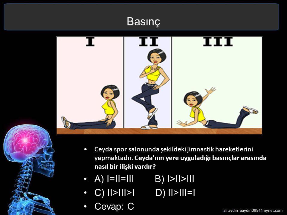 Basınç A) I=II=III B) I>II>III C) II>III>I D) II>III=I