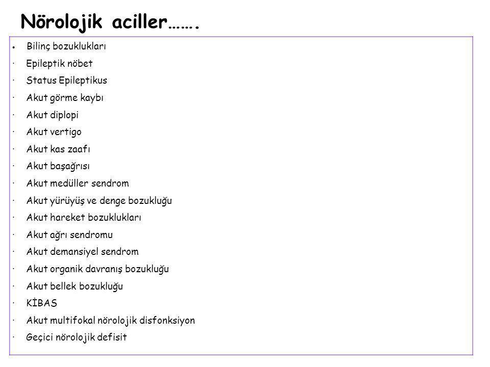 Nörolojik aciller……. · Epileptik nöbet · Status Epileptikus