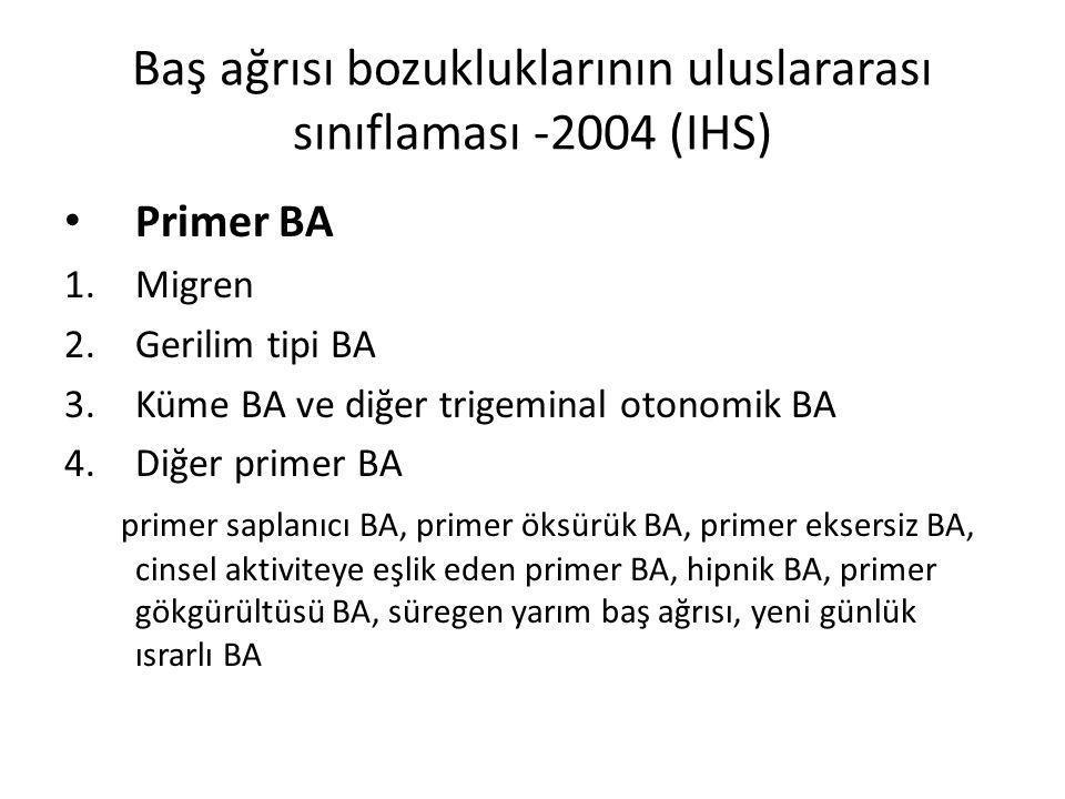 Baş ağrısı bozukluklarının uluslararası sınıflaması -2004 (IHS)