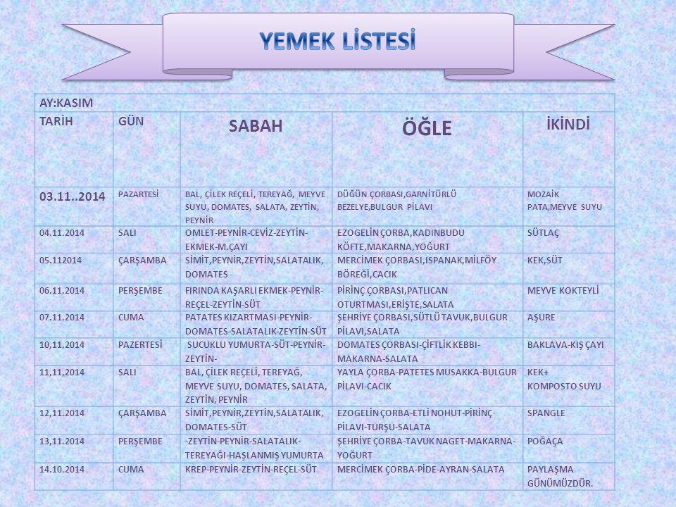 YEMEK LİSTESİ ÖĞLE SABAH İKİNDİ AY:KASIM TARİH GÜN 03.11..2014