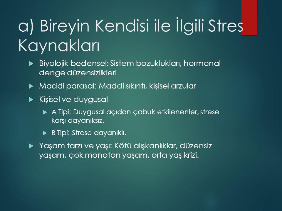 a) Bireyin Kendisi ile İlgili Stres Kaynakları