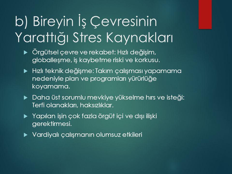b) Bireyin İş Çevresinin Yarattığı Stres Kaynakları