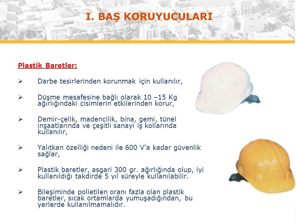 I. BAŞ KORUYUCULARI Plastik Baretler: