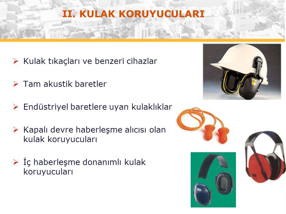 II. KULAK KORUYUCULARI Kulak tıkaçları ve benzeri cihazlar