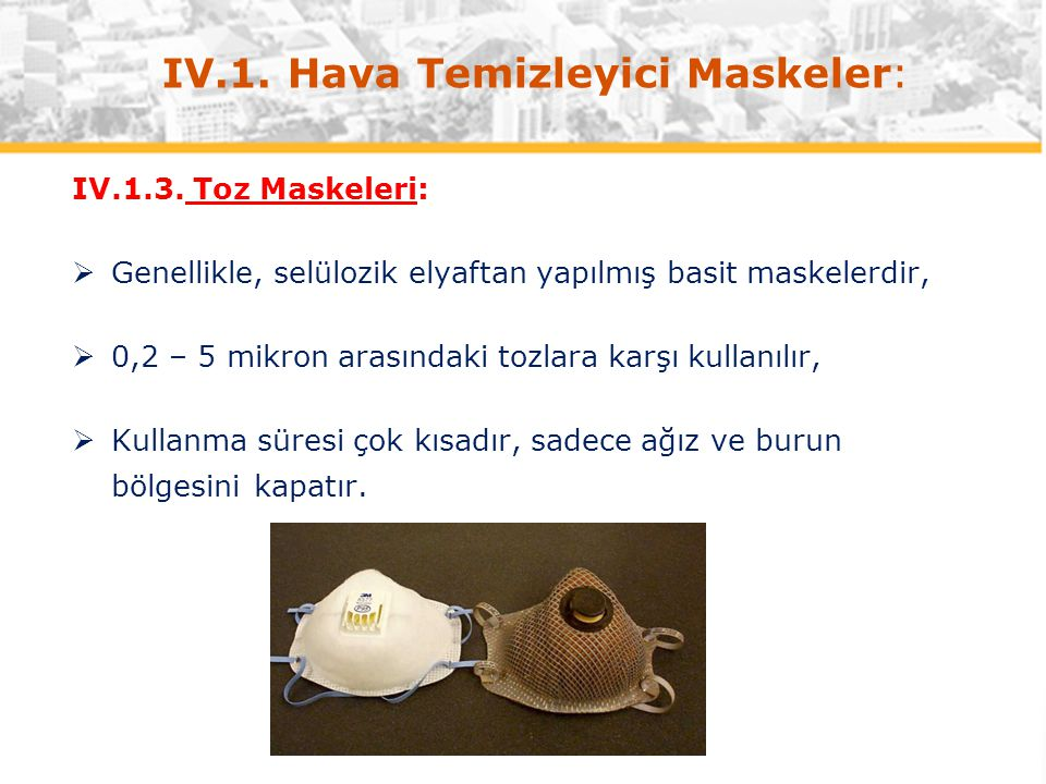 IV.1. Hava Temizleyici Maskeler: