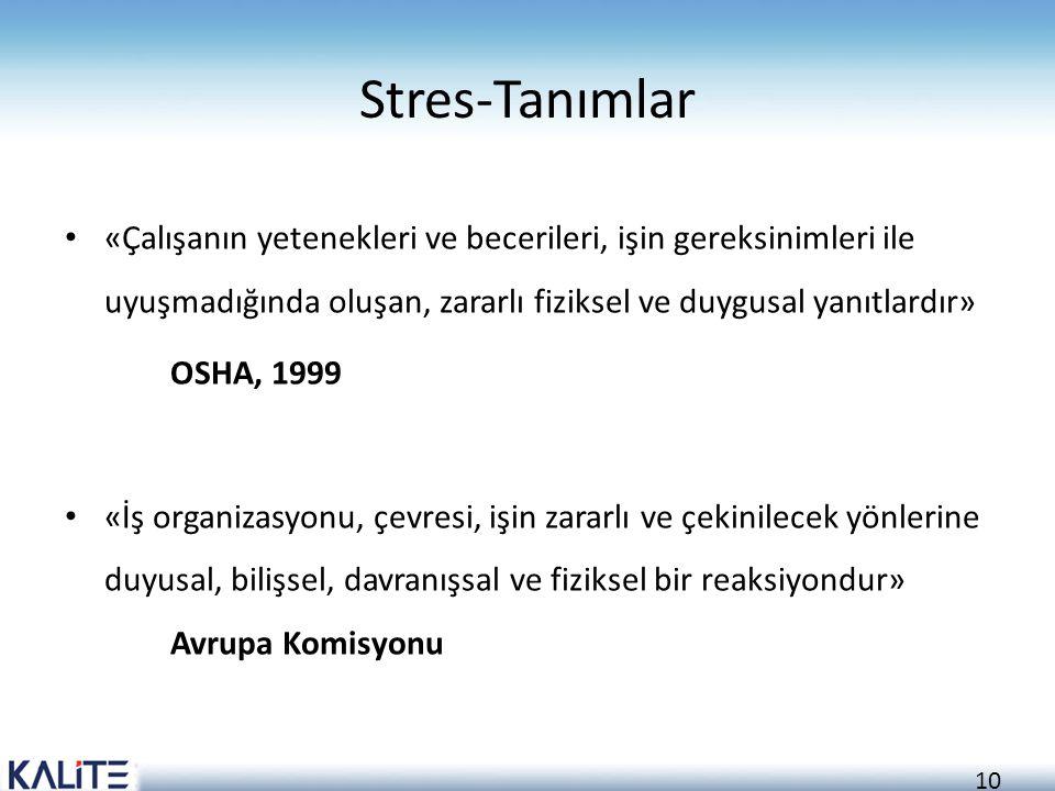Stres-Tanımlar «Çalışanın yetenekleri ve becerileri, işin gereksinimleri ile uyuşmadığında oluşan, zararlı fiziksel ve duygusal yanıtlardır»