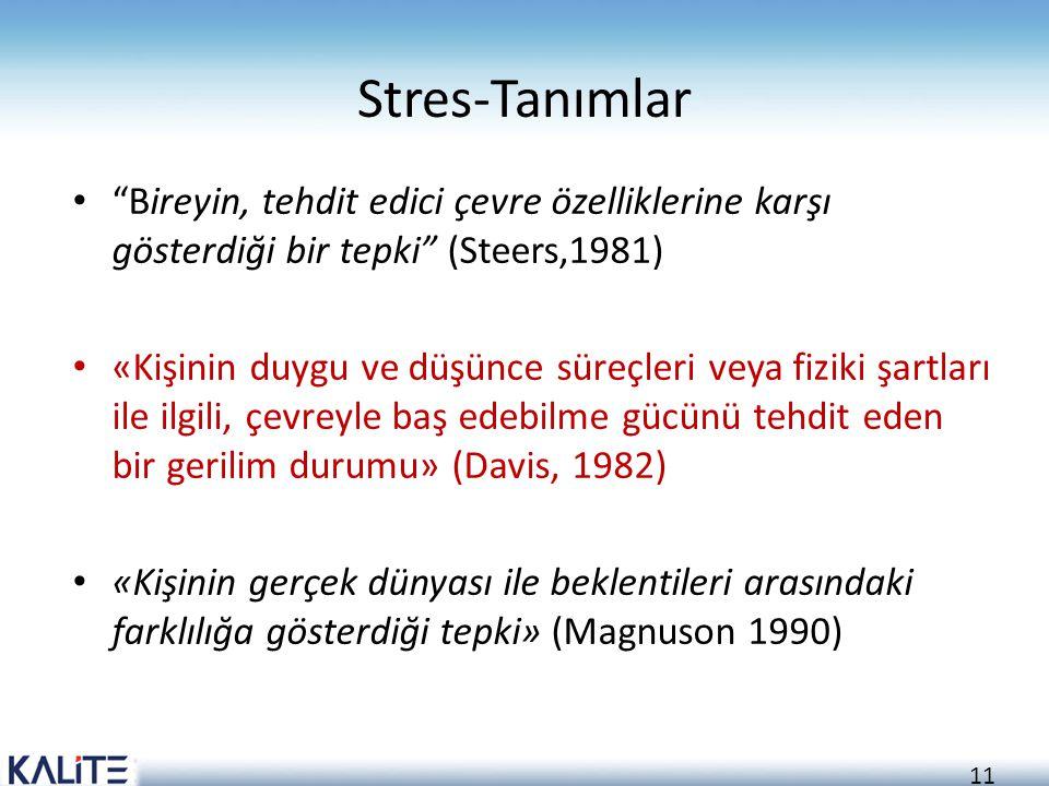 Stres-Tanımlar Bireyin, tehdit edici çevre özelliklerine karşı gösterdiği bir tepki (Steers,1981)